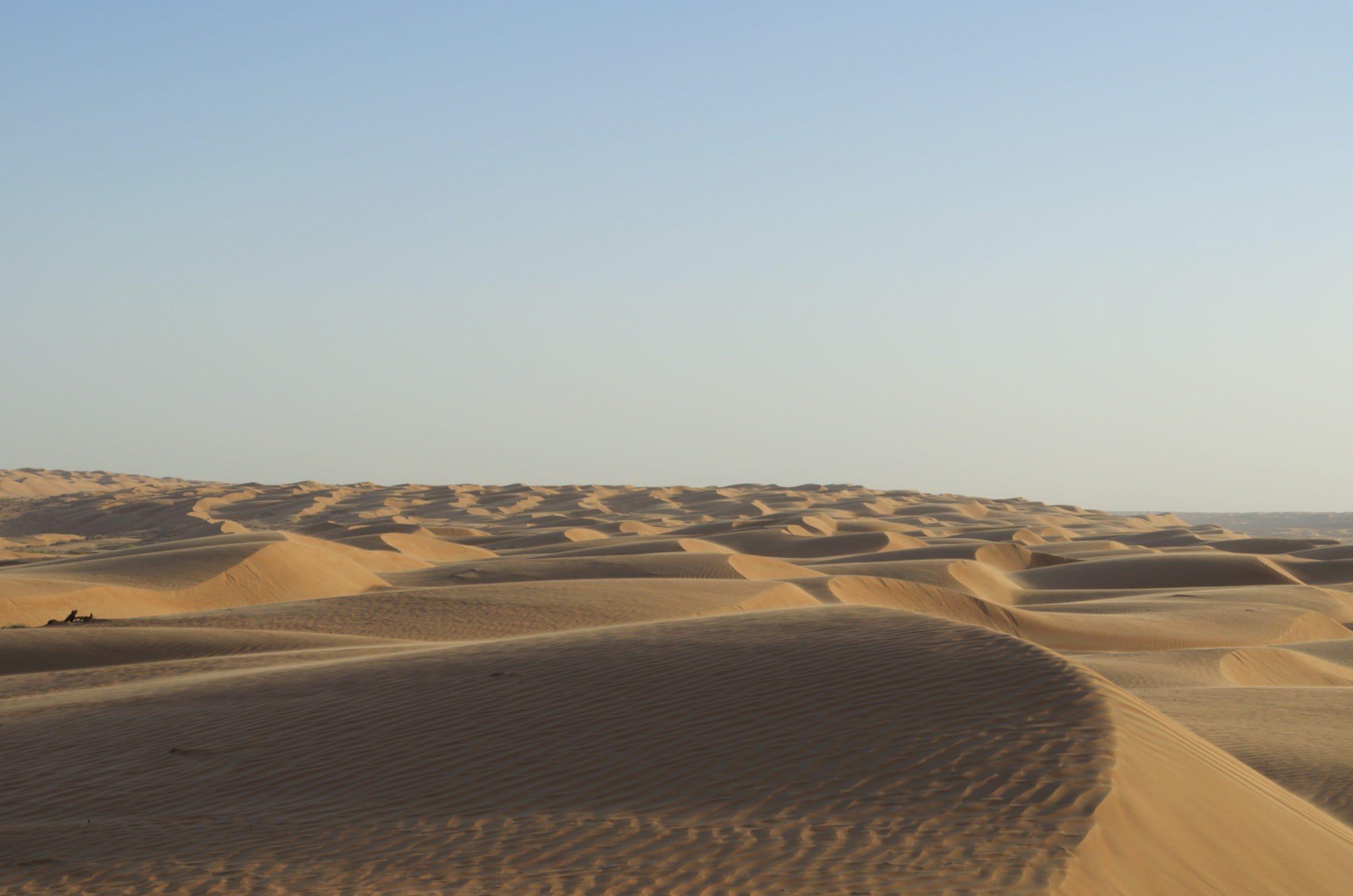 Dünen Wahiba-Sands kurz vor Sonnenuntergang