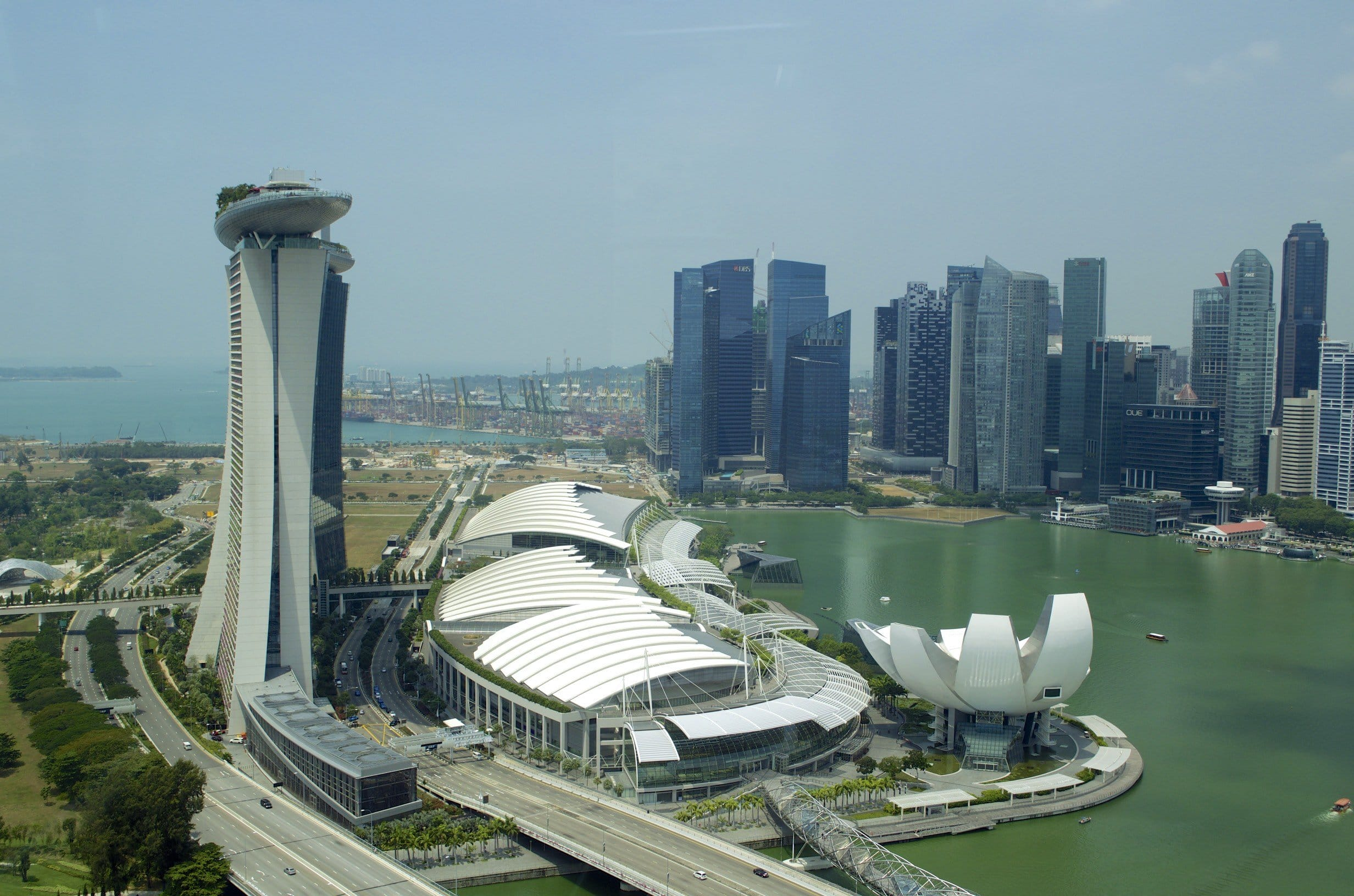 Marina Bay Sands vom Singagpur Flyer aus gesehen