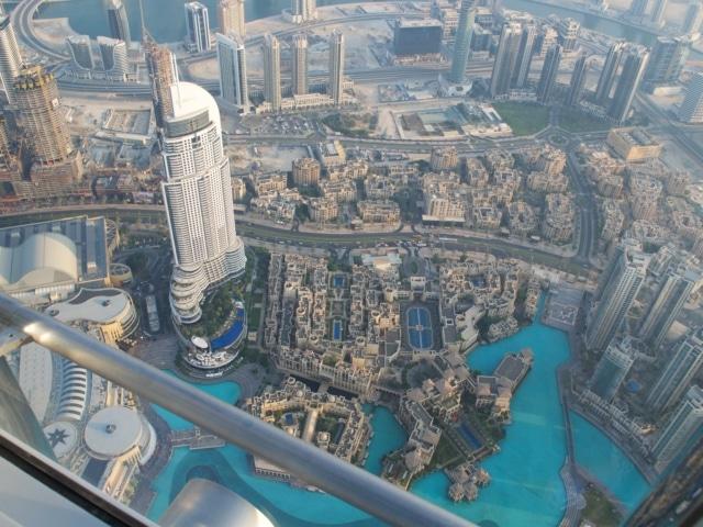 Blick auf dem Dubai Fountain vom Burj Khalifa