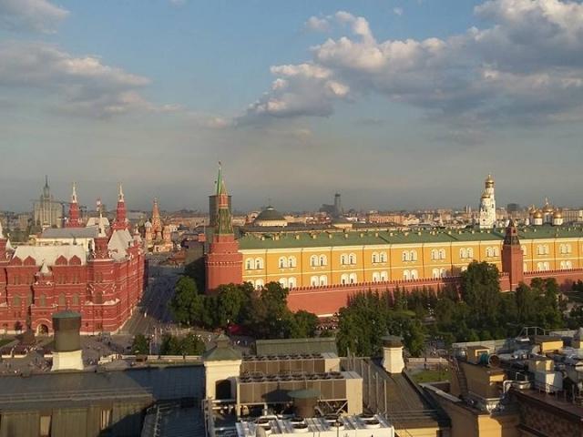 Aussicht auf den Roten Platz von der O2-Lounge