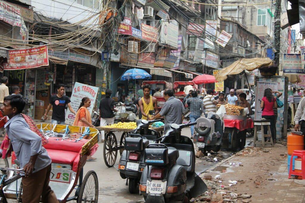 Straßenszene im Chandni Chowk Old Delhi