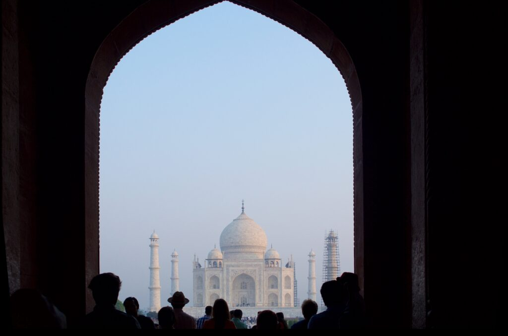 Erster Blick aufs Taj Mahal