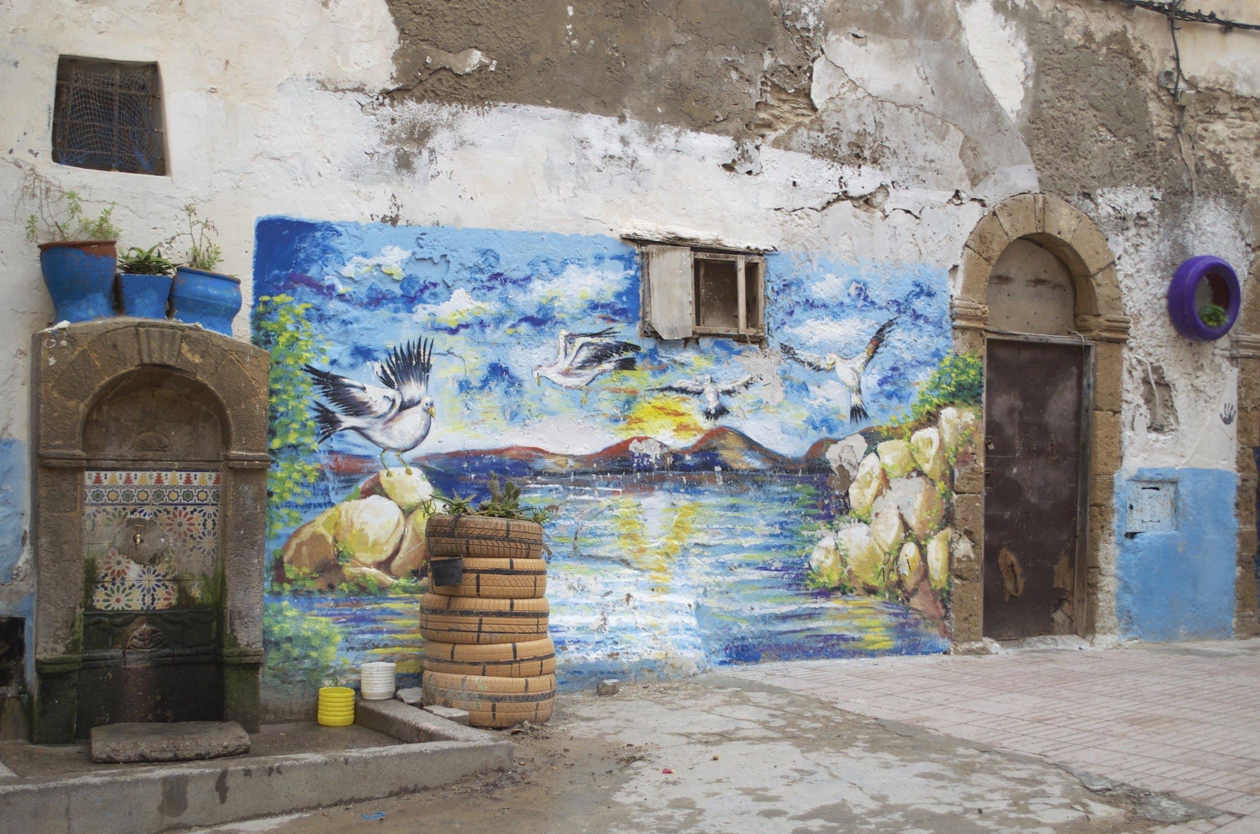 bemalte Fassaden in der Medina Essaouira