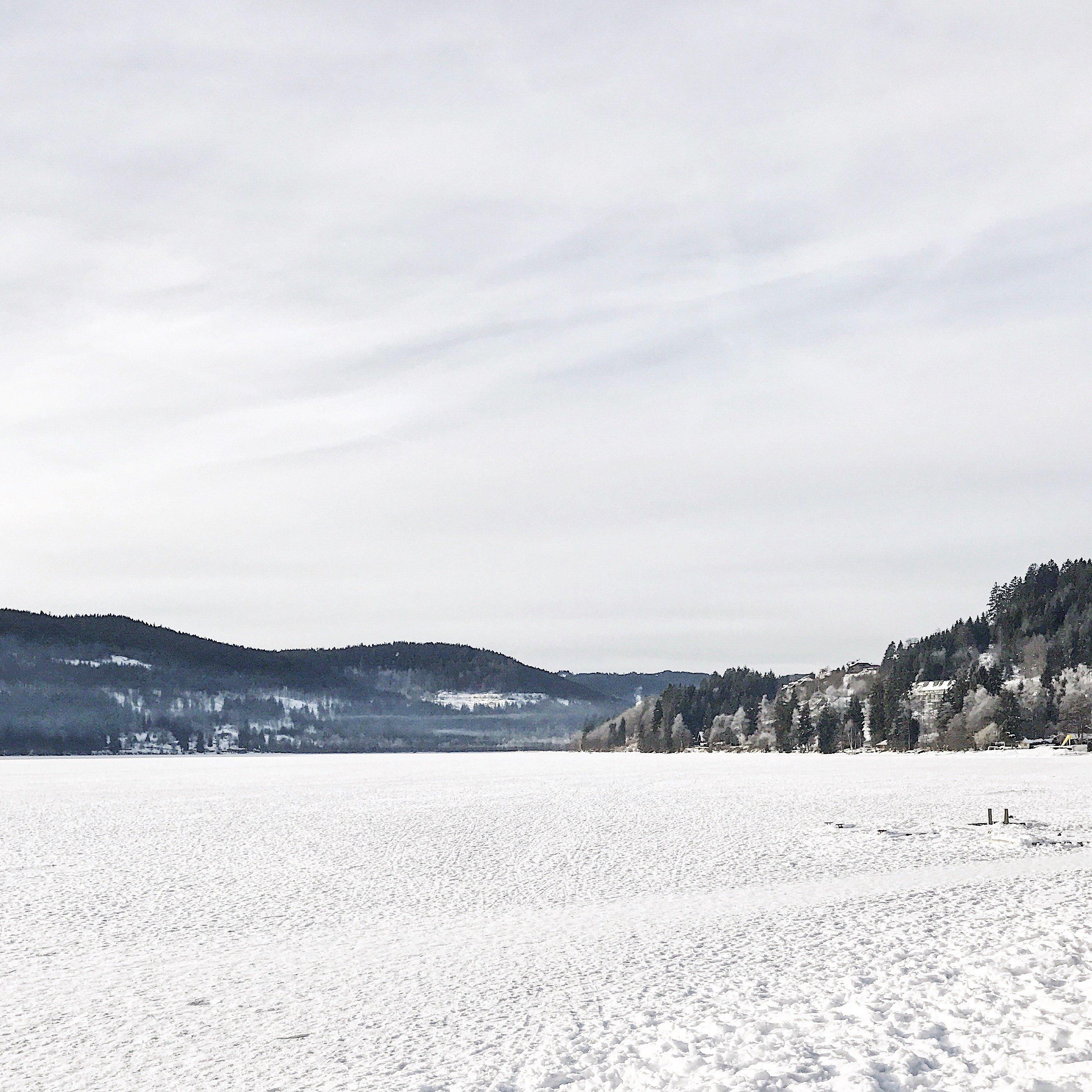 zugefrorener und schneebedeckter Titisee