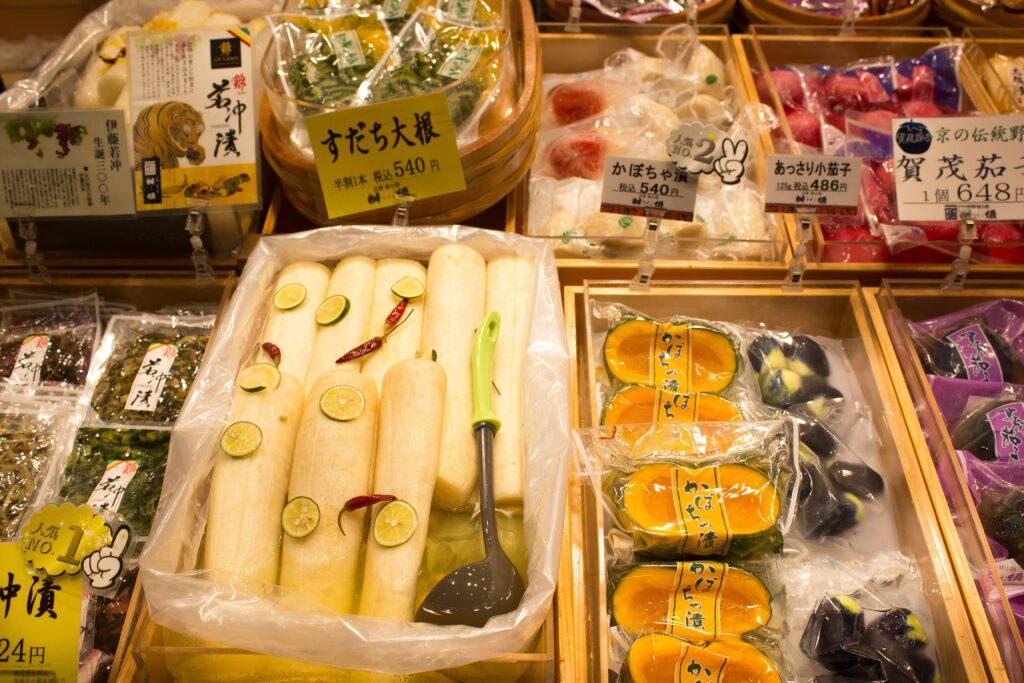 Gemüse am Nikishi Markt in Kyoto