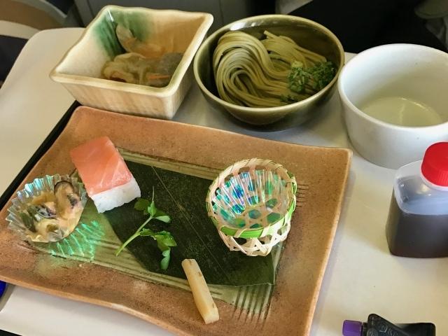 Japanisches Menü in der Business Class der Lufthansa