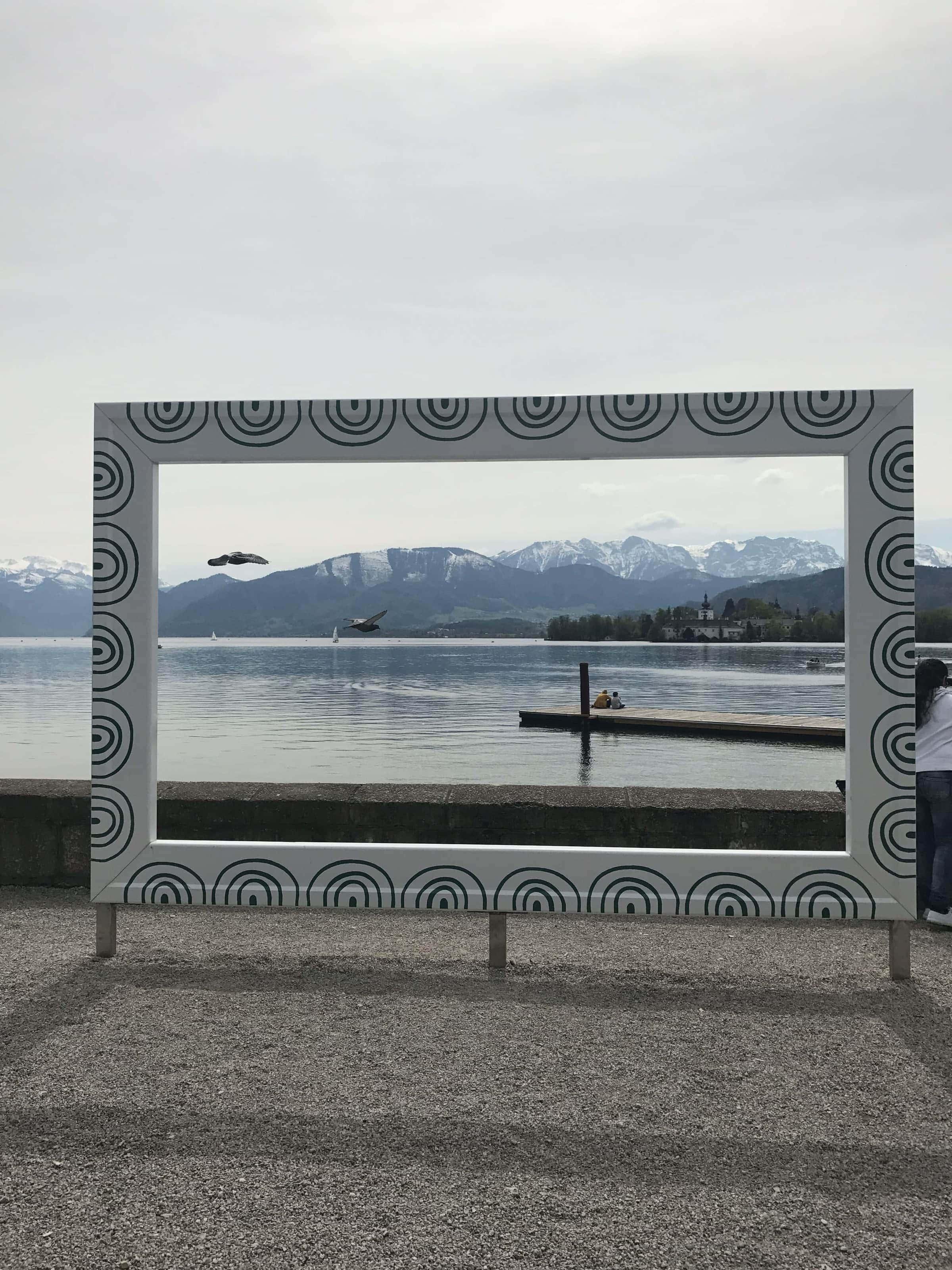 Fotorahmen auf der Esplanade in Gmunden