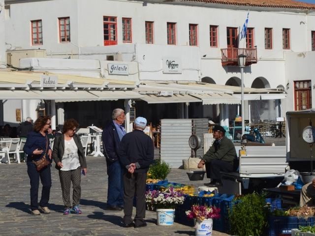 Markt im alten Hafen von Mykonos