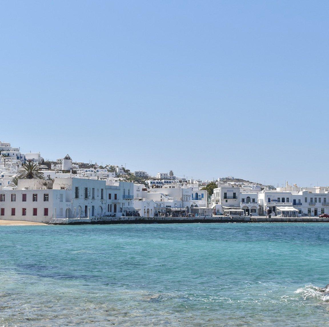 Santorini oder Mykonos? Hafen von Mykonos