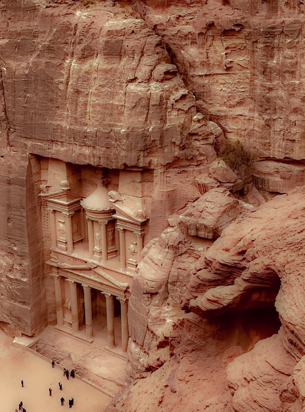 Schatzhaus in Petra von oben
