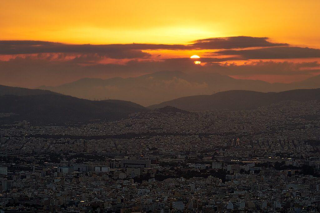 Sonnenuntergang am Lycabettus in Athen
