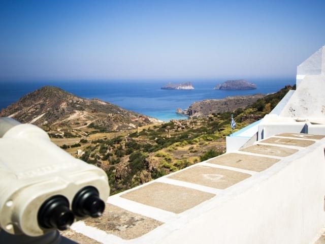 Blick über die Insel ans Meer