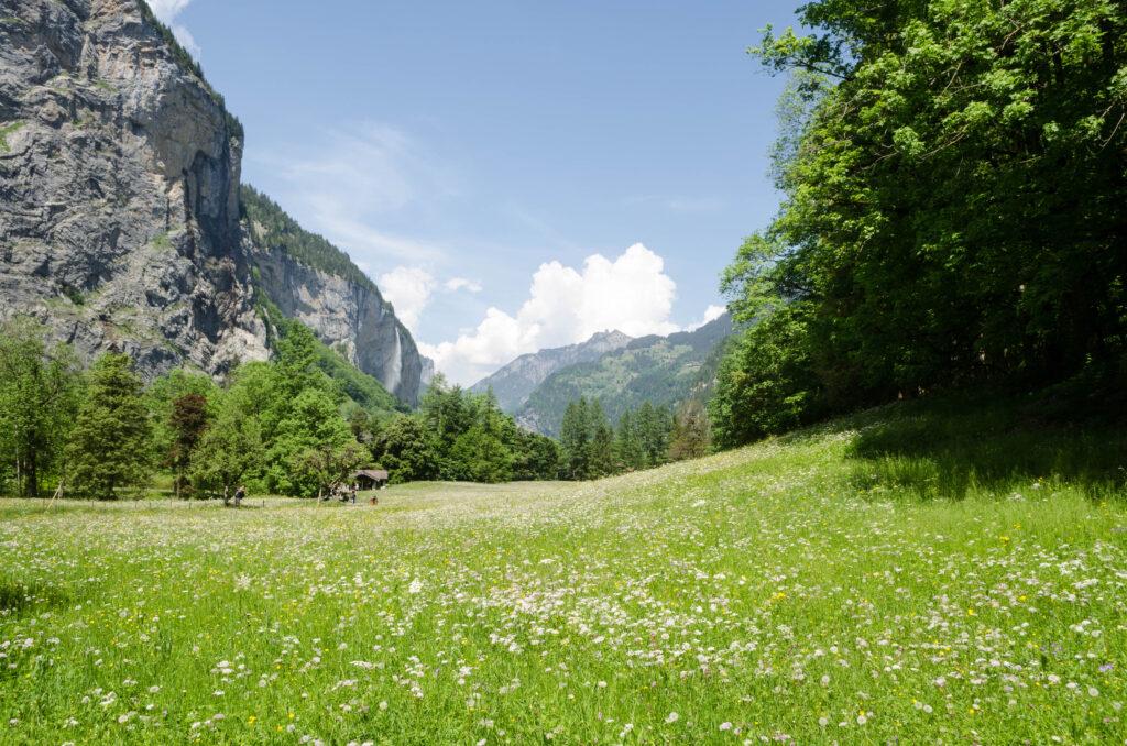 Blick ins Lauterbrunnental bei den Trümmelbachfällen