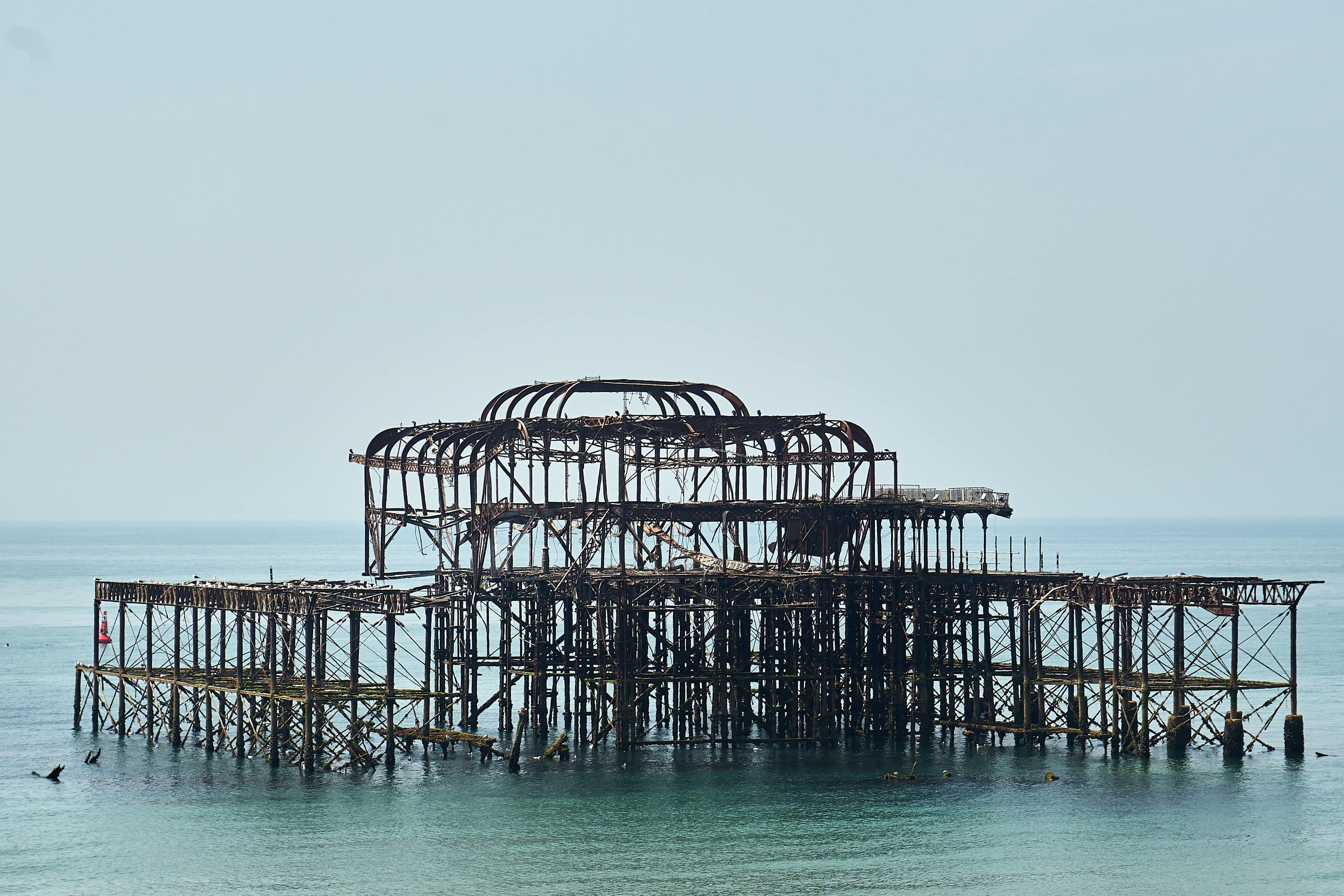 Metallgerippe des West Piers in Brighton