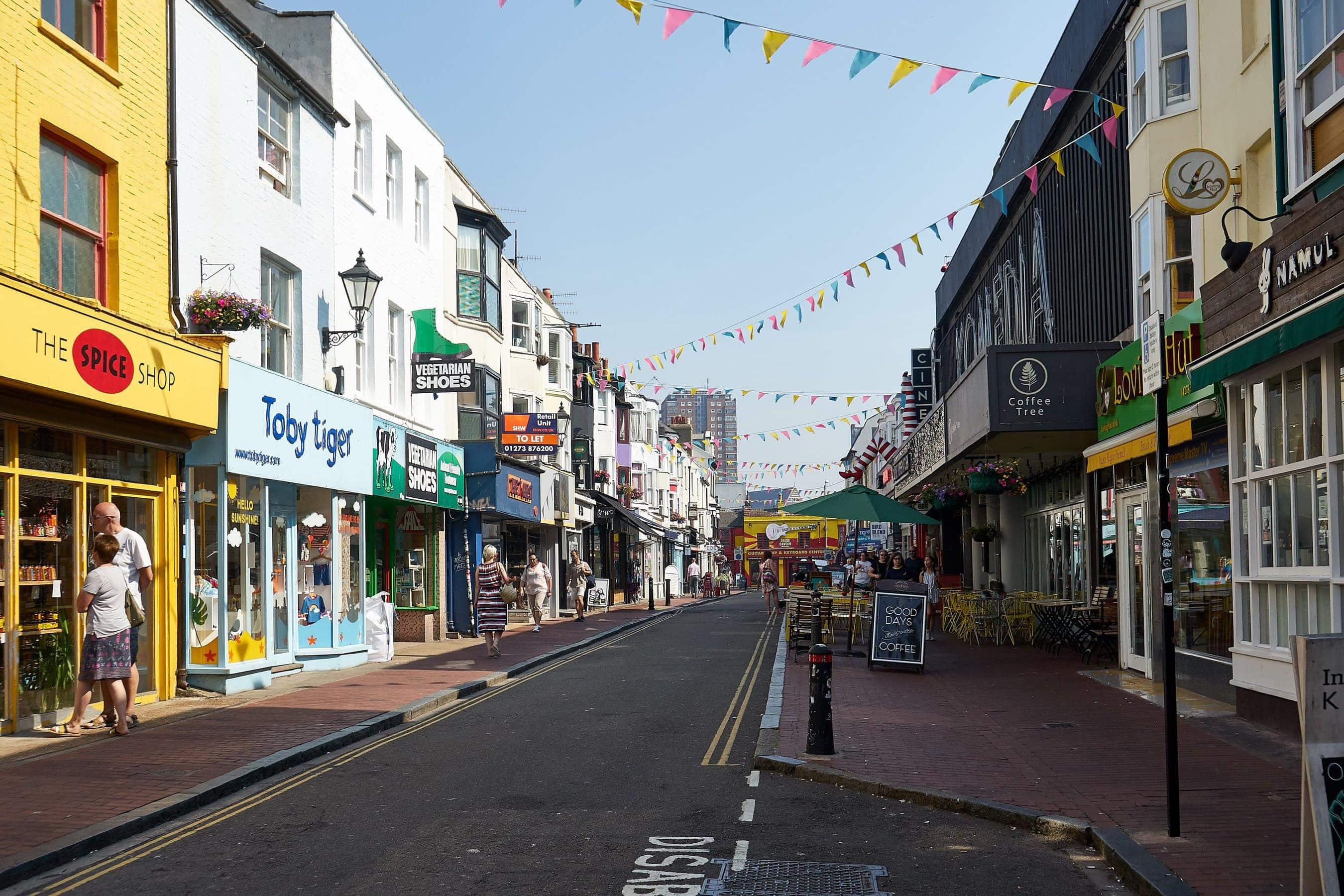 Straße in den North Laines in Brighton
