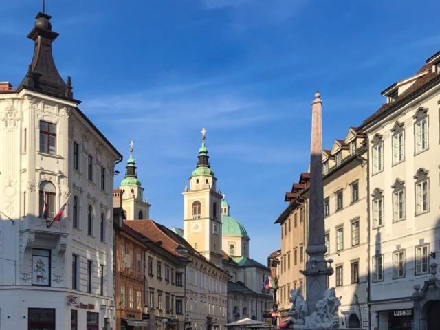 Ljubljanas Altstadt mit Kathedrale und Robba Brunnen