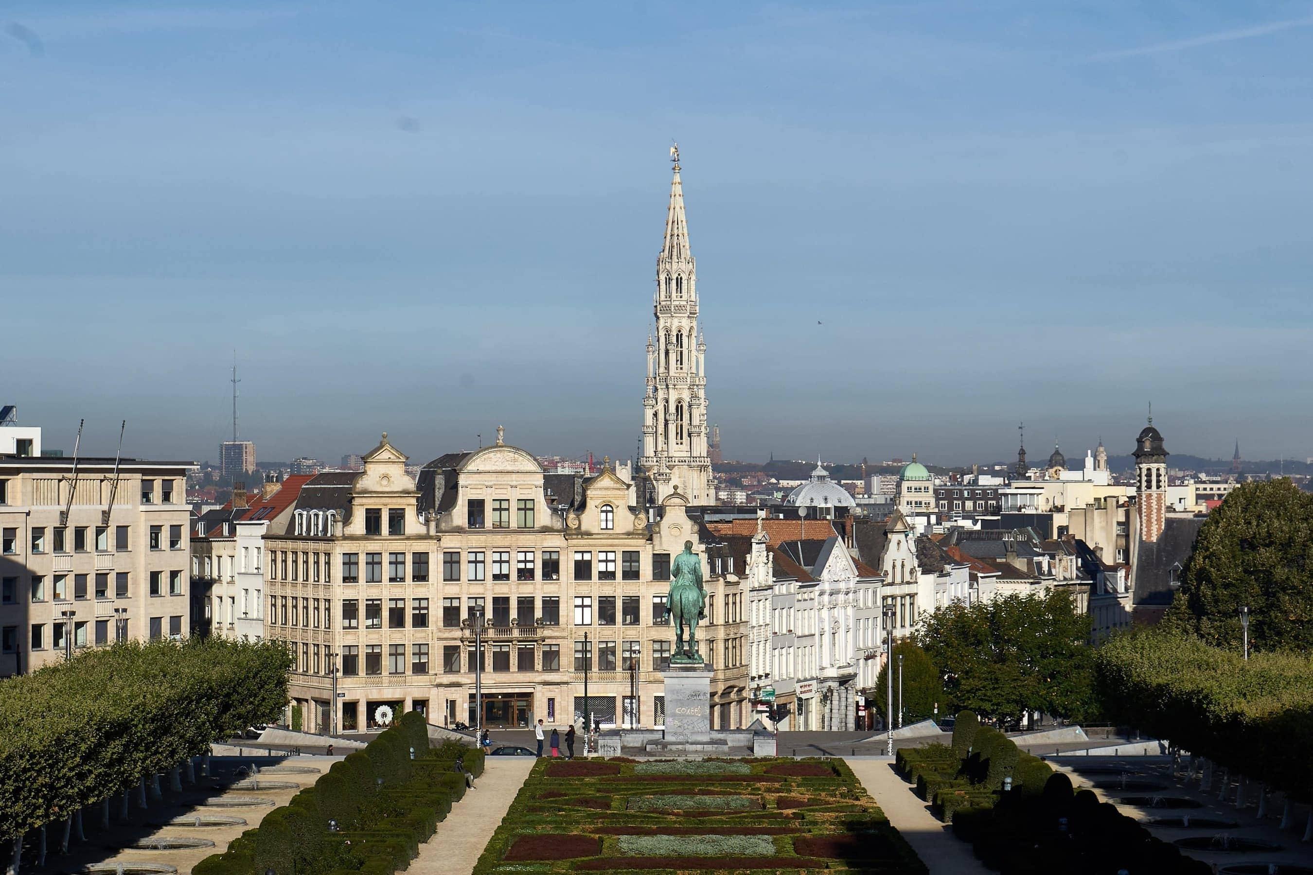 Blick auf das Zentrum von Brüssel vom Mont des Arts