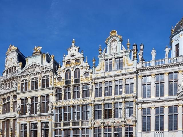 barocke goldverzierte Fassaden am Grote Markt Brüssel