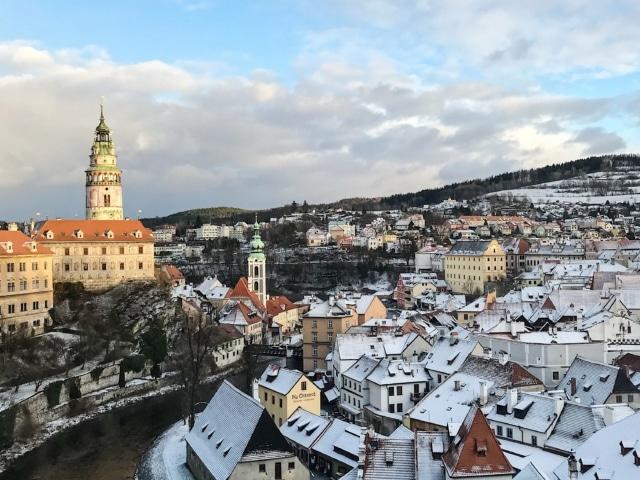 Blick auf die Moldau und die Dächer der Altstadt (V. Burghof)