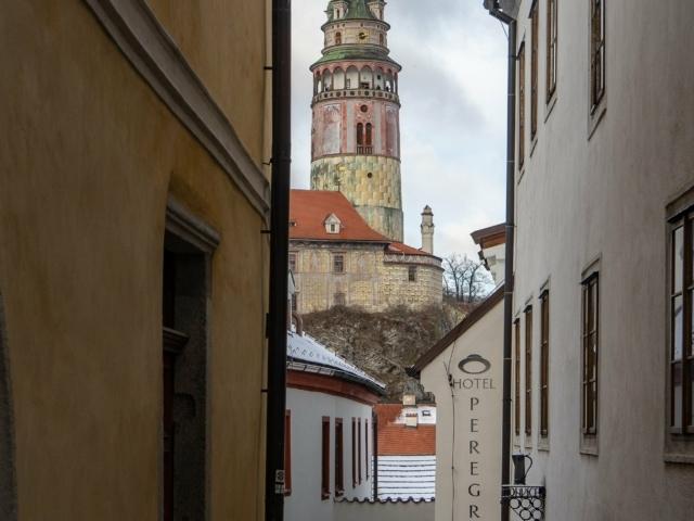 Sicht auf das Schloss und die Gassen von Krumau